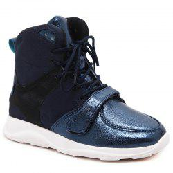 Contrasting Color Short Boots - BLUE 35/5.5