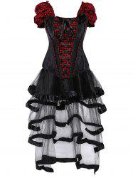 Checked Lace Up Gothic Corset Top with Sheer Skirt - RED WITH BLACK 2XL