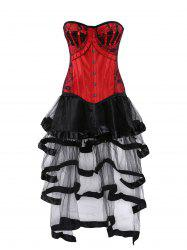 Lace Up Vintage Corset with Flounce Long Skirt - COLORMIX XL