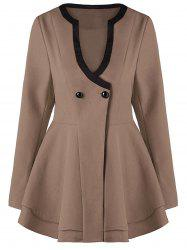 Button Fit and Flare Coat - KHAKI XL