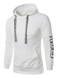 Panel Colorful Stripe Graphic Print Pullover Hoodie - WHITE XL
