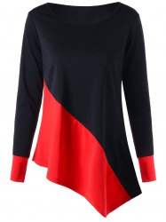 Color Block Long Sleeve Asymmetric Top - RED WITH BLACK M