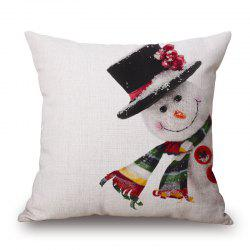 Christmas Snowman Print Decorative Linen Sofa Pillowcase -