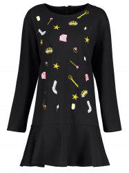 Plus Size Embroidered Cute Drop Waist Dress - BLACK 2XL