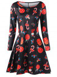 Plus Size Christmas Printed A Line Dress -