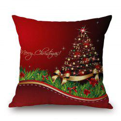 Christmas Star Tree Print Decorative Linen Sofa Pillowcase -