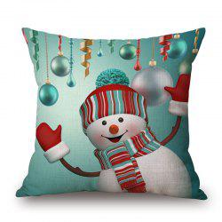 Christmas Baubles Snowman Print Decorative Linen Sofa Pillowcase - 45*45cm