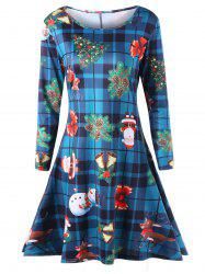 Plus Size Long Sleeve Plaid Christmas Dress -
