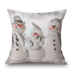 Christmas Snowmen Family Print Decorative Linen Sofa Pillowcase - GREY WHITE 45*45CM