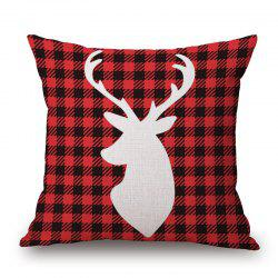 Christmas Deer Plaid Print Decorative Linen Sofa Pillowcase - DEEP RED 45*45CM