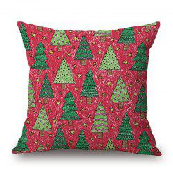 Christmas Trees Print Decorative Linen Sofa Pillowcase -