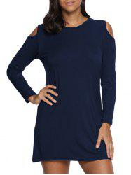 Cold Shoulder Mini Tunic Dress - PURPLISH BLUE M