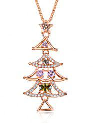 Christmas Triangle Tree Design Drop Necklace - GOLDEN