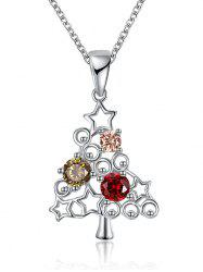 Christmas Tree Rhinestone Decorated Drop Necklace -