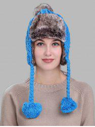 Pom Pom Embellished Cable Knit Trapper Hat -
