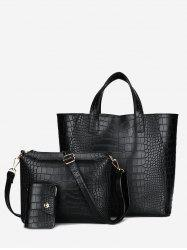 PU Leather Embossing 3 Pieces Handbag Set - BLACK