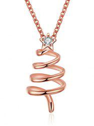 Christmas Spiral Tree Design Drop Necklace -
