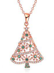 Rhinestones Insert Christmas Tree Drop Necklace -