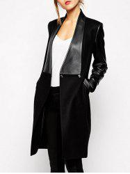 Faux Leather Spliced Pocket Design Overcoat -