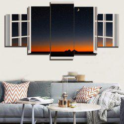 Starry Sky Window Print Canvas Paintings - COLORFUL 1PC:8*20,2PCS:8*12,2PCS:8*16 INCH( NO FRAME )