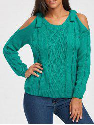 Cable Knit Cold Shoulder Sweater -