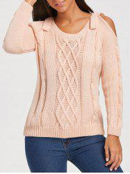 Cable Knit Cold Shoulder Sweater - APRICOT ONE SIZE
