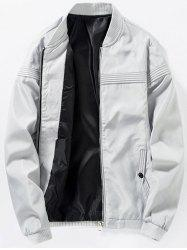 Zip Up Stand Collar Casual Bomber Jacket - GRAY 4XL