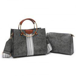 Striped 2 Pieces Handbag Set - GRAY