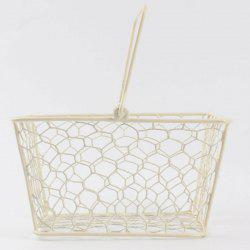 Household Hand Holding Metal Storage Basket - MILK WHITE