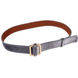 Metal Square Buckle Decorated Skinny Belt - FROST