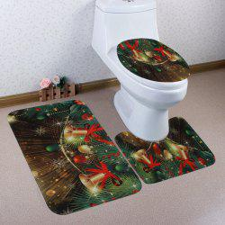 Christmas Baubles Bells Pattern 3 Pcs Bath Mat Toilet Mat -