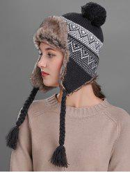 Outdoor Wave Stripe Pattern Knited Winter Hat - DARK GRAY