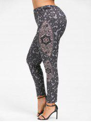 Bohemian Plus Size Print Leggings -