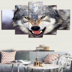 Unframed 3D Wolf Printed Canvas Paintings - GRAY 1PC:8*20,2PCS:8*12,2PCS:8*16 INCH( NO FRAME )
