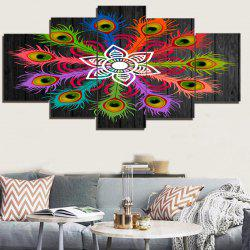 Bohemian Peacock Feather Flower Print Canvas Unframed Paintings -
