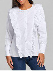 Casual Ruffle Button Up Blouse - WHITE M