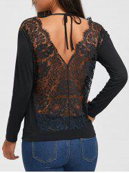 Lace Hollow Out Back V Blouse - BLACK S
