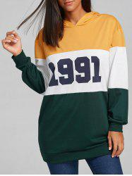 1991 Print Color Block Striped Hoodie -