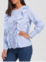Casual Ruffle Button Up Blouse -