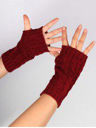 Outdoor Hollow Out Embellished Knitted Exposed Finger Gloves - WINE RED