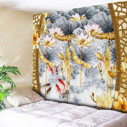 Lotus Print Decorative Wall Hanging Tapestry - COLORMIX W59 INCH * L51 INCH