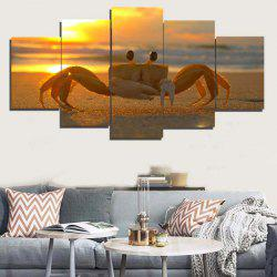 Sunset Beach Crab Frameless Split Canvas Paintings -