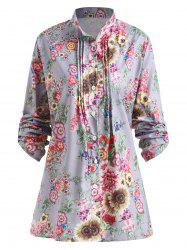 Plus Size Pleated Floral Print Blouse - GRAY 3XL
