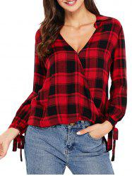 V Neck Plaid High Low Blouse - RED L