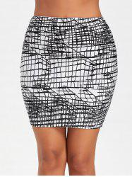Line Jacquard Fitted Bandage Skirt -