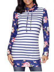 Floral and Striped Cowl Neck Sweatshirt - BLUE 2XL