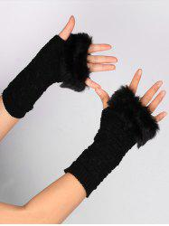 Soft Fur Winter Knitted Fingerless Gloves - BLACK