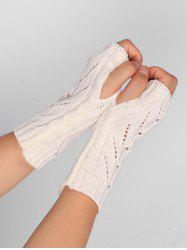 Outdoor Letter V Shape Hollow Out Fingerless Knitted Gloves -