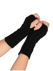 Outdoor Letter V Shape Hollow Out Fingerless Knitted Gloves - BLACK