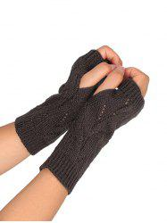 Tree Branch Shape Hollow Out Knitted Fingerless Gloves - DEEP GRAY